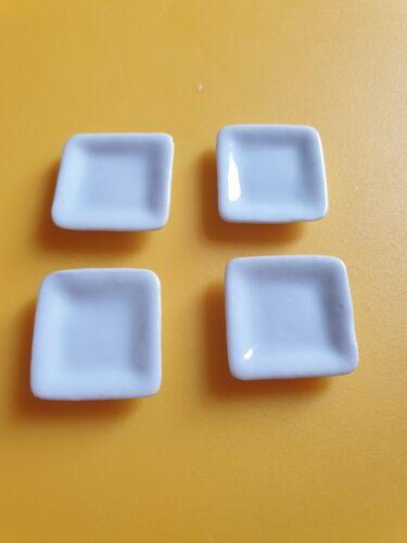 4 placas de cerámica cuadrada. Escala 1//12th Casa De Muñecas Miniaturas