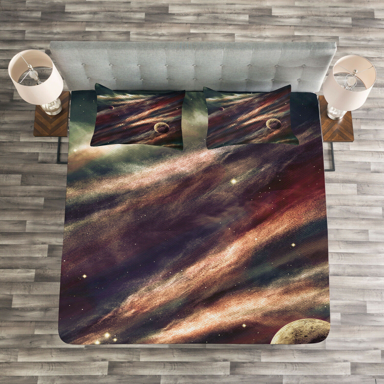 Outer Space Quilted Bedspread & Pillow Shams Set, Nebula Planet Cloud Print