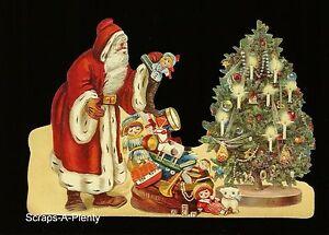 German Embossed Scrap Die Cut -Large Christmas Santa With Toys Under Tree BK5177
