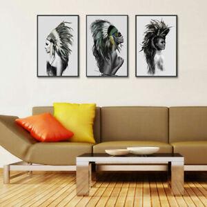 Fiducioso-Sexy-indiano-DONNA-PIUMA-art-print-dipinto-ad-olio-casa-muro-stanza-scenografia