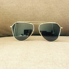 Gold Metal Fame Aviator Oversized Geek Retro Fashion Sunglasses 60s 80s