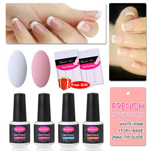 French Manicure Nail Gel Polish Top and Base Coat Pink ...
