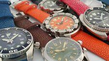 Genuine Stingray watch straps bands 20mm 22mm BLACK ORANGE fits SEIKO Monster