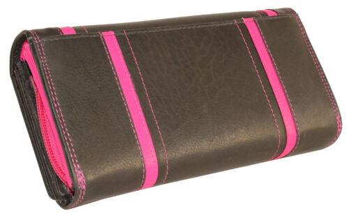 Damen Leder Geldbörse Geldbeutel Börse Riegelbörse 16 Kartenfächer Handyfach XL