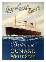 Brittanic Cunard White Star Line Classic Travel Poster Print 1948 New