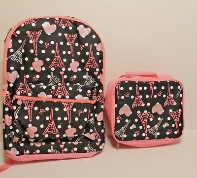 Justice Paris Backpack Girls Black Pink Bookbag Eiffel Tower New School
