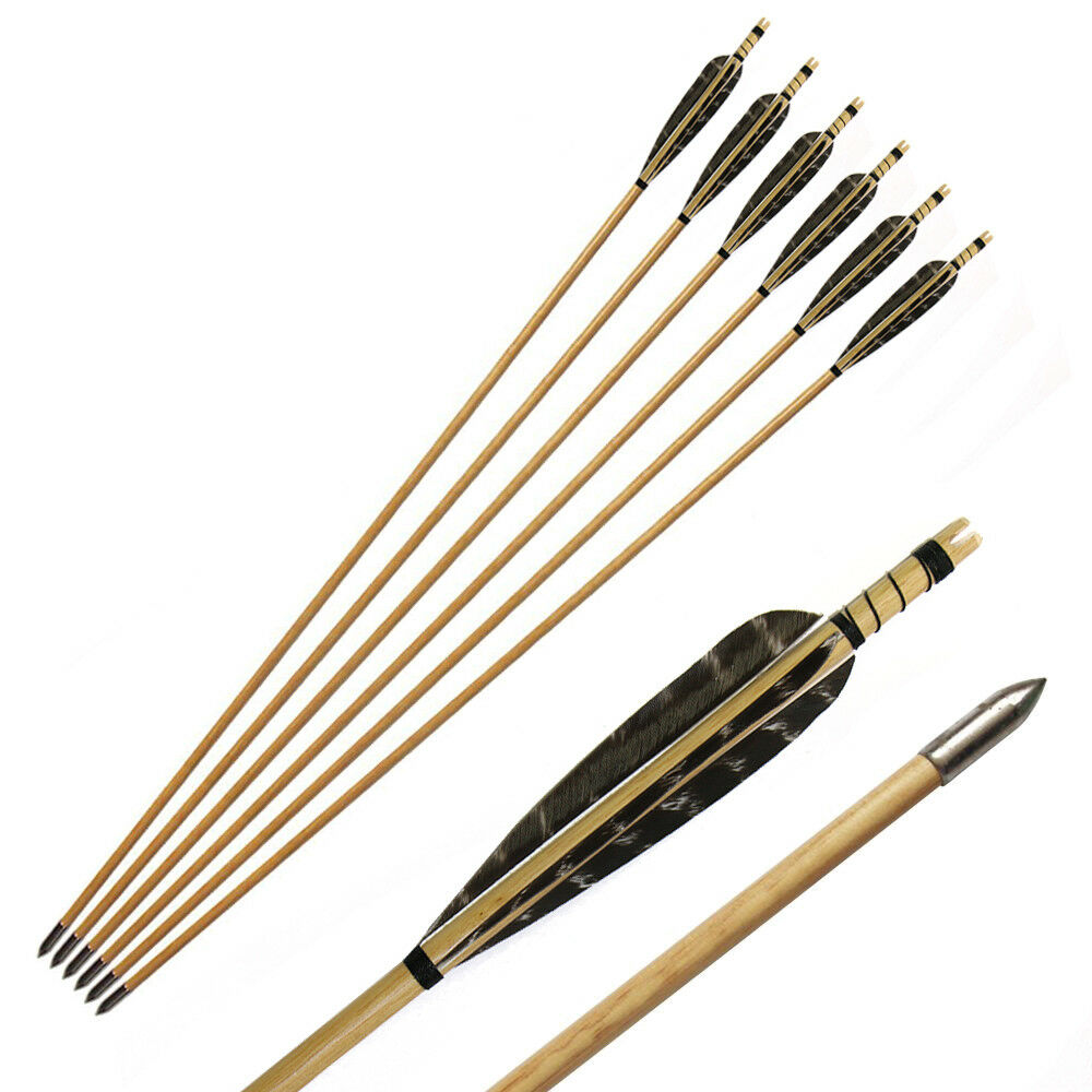 12Pcs Traditional Wooden Arrows Handmade With 5'' Turkeys Feather For Practice