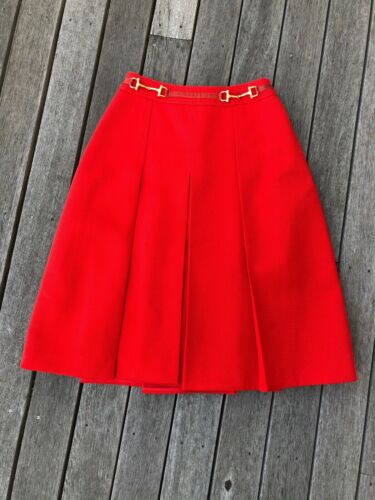 Vintage Celine Paris red pleated skirt horesebit s