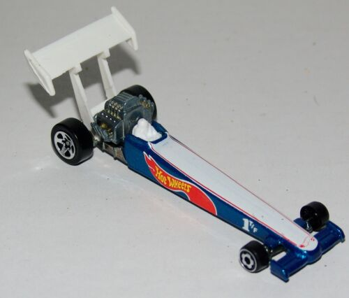 Malaysia 1995 Hot Wheels Dragster White w//Dark Blue Sides Sp5 Wheels