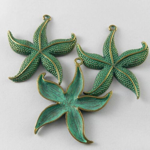 5pcs Vintage Bronze Patina Color Alloy Starfish Charms Pendant Jewelry 48x43x3mm