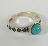 Turquoise Size 9 Ring .925 Sterling Silver Usa Made Chip Inlay Southwest Style