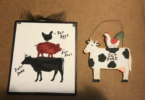 Cow Pig Chicken Rooster Beef Pork ham Eggs cow eat pork kitchen decor wood sign