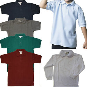 828b29328 Boys Polo Goft Shirts short & long sleeve PIQUE Kids School Uniforms ...