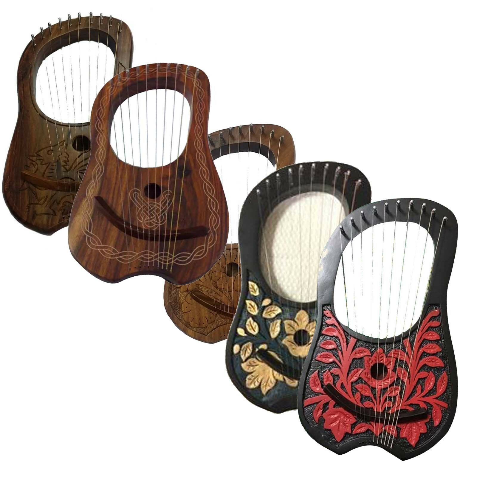 New Lyre Harp 10 Metal Strings Different Design Free carrying Bag+Tuning key