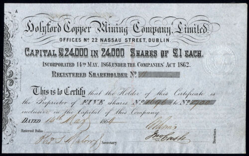 Ireland: Holyford Copper Mining Co Ltd. 5 x £1 shares 1864 harp in seal
