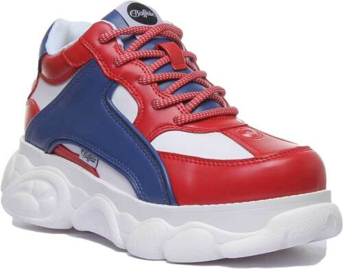 Buffalo 1630134 Femme Chunky Lace Up Sneaker En Bleu Rouge Taille UK 3-8