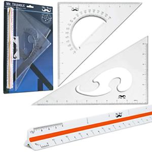 Set-of-3Pcs-high-Triangular-Ruler-Scale-Architect-Squares-Triangle-Drafting-Kits