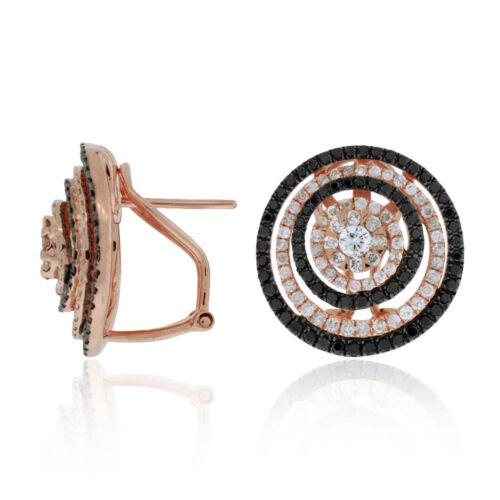 1.90Ct Round Black Diamond Midnight Circle Stud Earrings 14K Rose Gold Finish