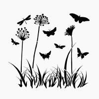 Butterflies Meadow Stencil Grass Template Art Bugs Butterfly Wings Craft