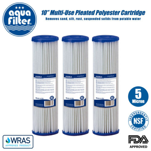 """Aquafilter 10/"""" Osmosi Inversa 5 Micron multi-uso a Pieghe sedimenti Filtro x 3"""