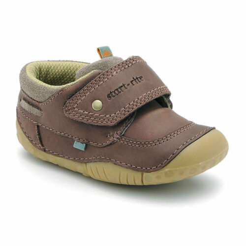 5 4.5 3.5 4 NEW START-RITE POOLE BOYS BROWN LEATHER VELCRO SHOES 3