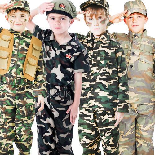 2019 úLtimo DiseñO Soldados Del Ejército + Sombrero Niños Disfraz Uniforme Militar Niños Childrens Traje Nuevo-ver