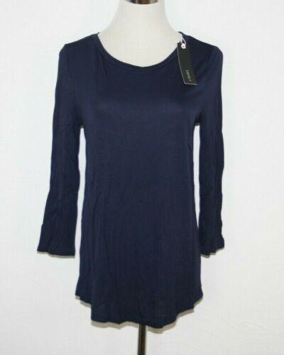 ESPRIT Collection fließendes Basic-T-Shirt aus Viskose-Jersey navy blau