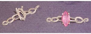 (1) 10x5mm Marquise Chain Style Sterling Silver Bracelet Link Setting