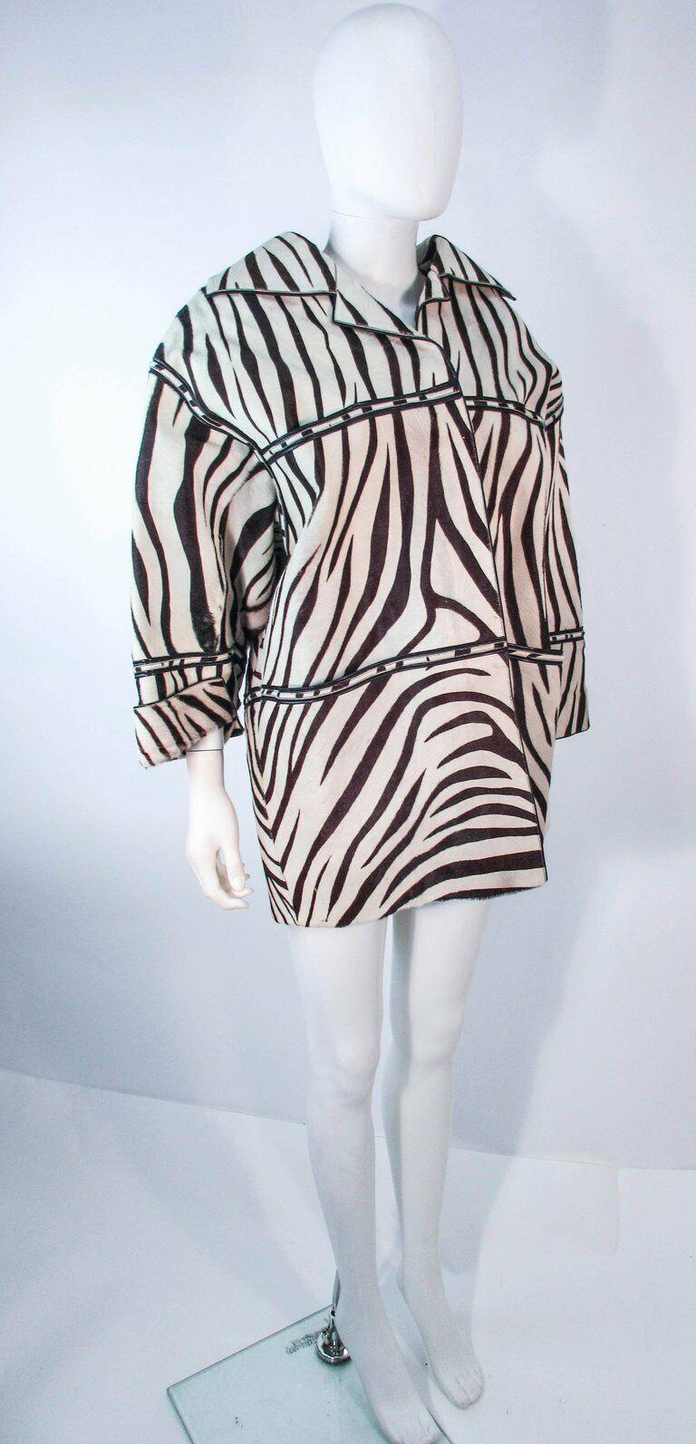 AMEN WARDY Zebra Pattern Cowhide Coat Size 4-8 - image 3