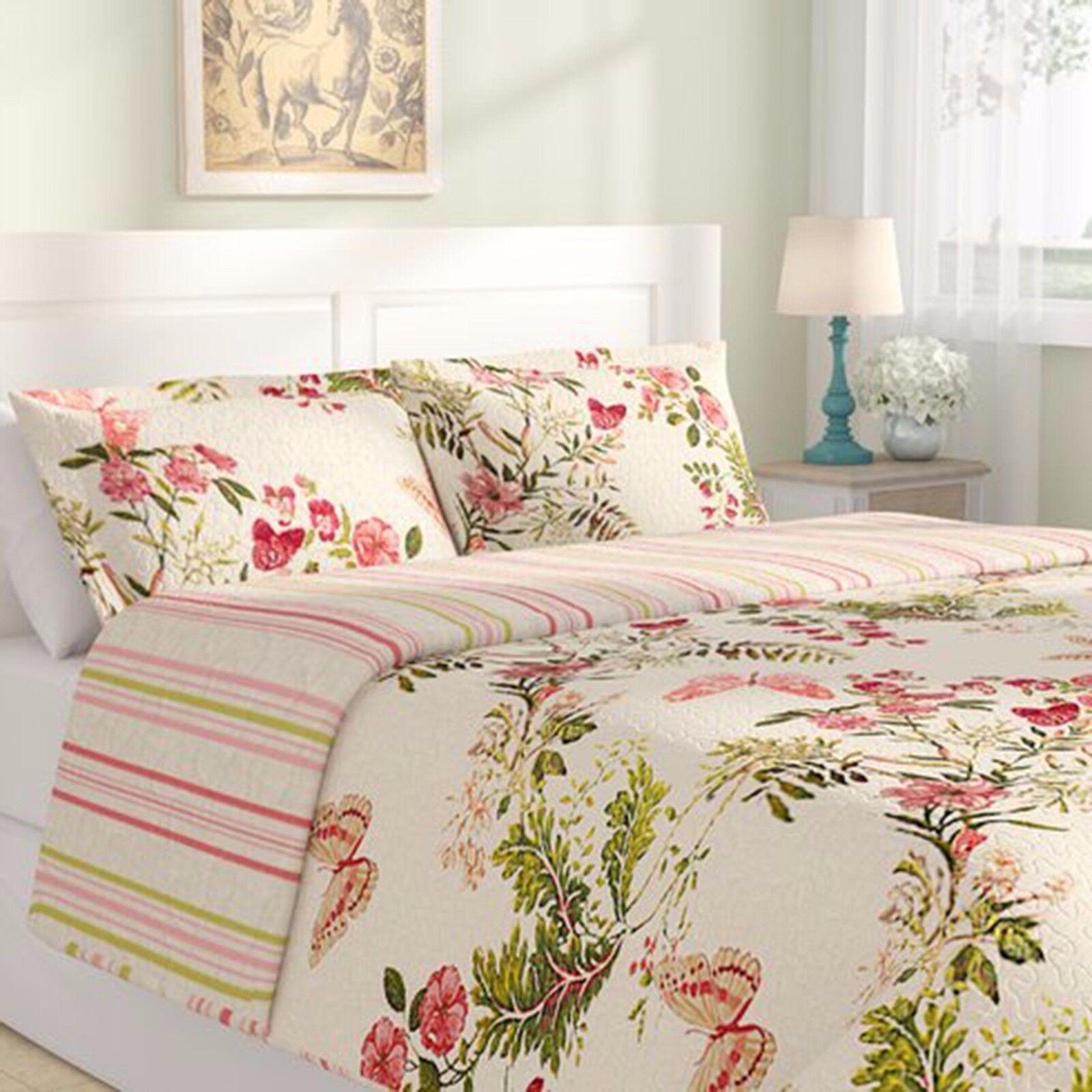 Full Queen Size Quilt Set Shams Reversible Bedspread Coverlet Cotton Floral