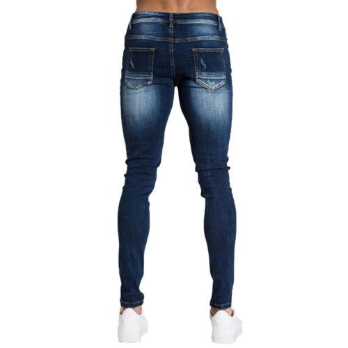 Herren Denim Jeanshosen Jeans Ripped Röhrenjeans Seitenstreifen Jeggings Hose