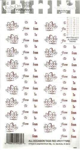 E Z Rub Ons Transfers ALL OCCASION RED TAGS   5.5 x 9 inch   B79 SILVER