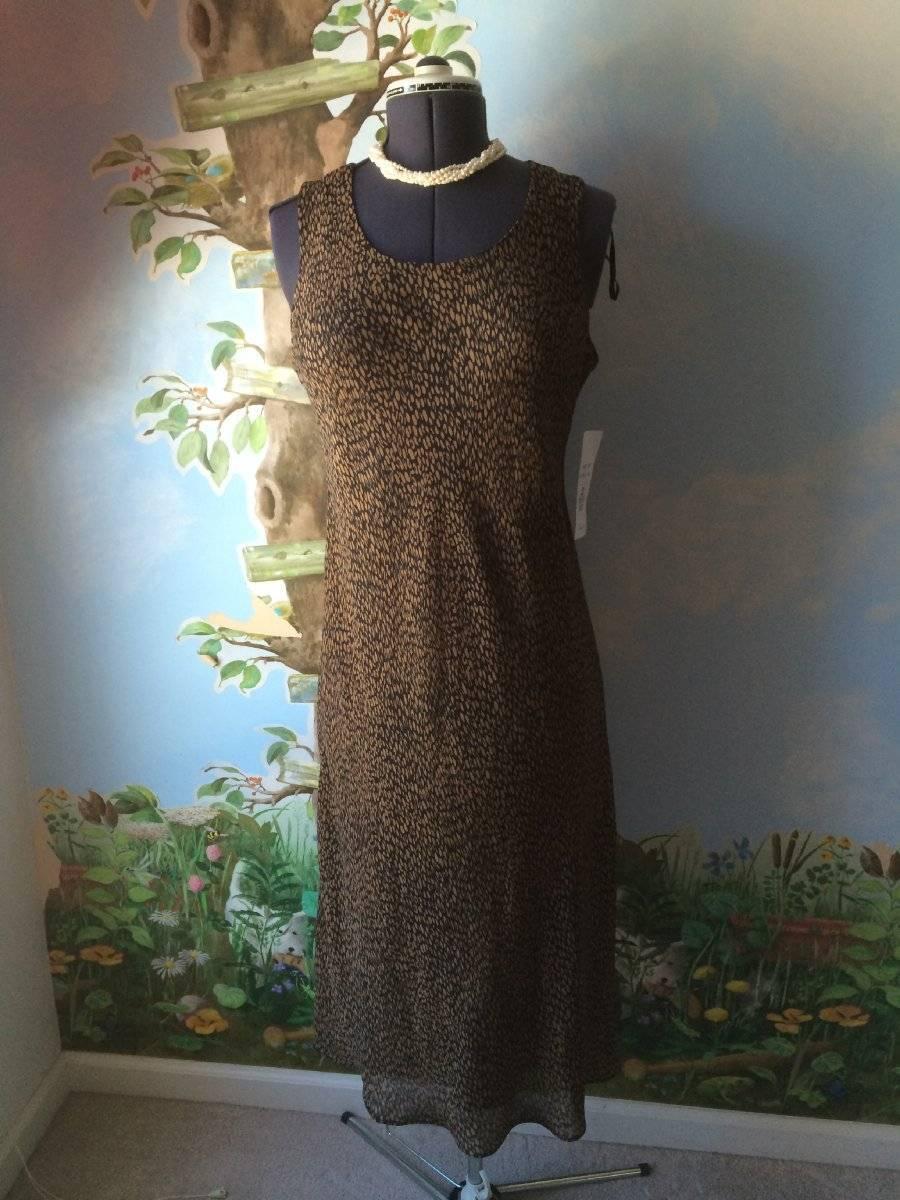 Studio 1 Petite Sleeveless braun & schwarz Dress Only Größe 14P NWT