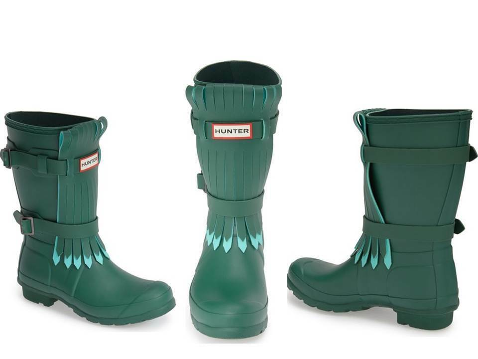 Hunter Limited Green Fringed Rubber Rain Stivali   7 EU 38 New Gummistiefel