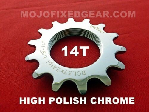 CHROME ANODIZED Cro-Mo TRACK 14 TOOTH 1//8 INCH CNC MOJO 14T FIXED GEAR COG