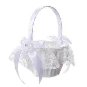 Wedding Flower Girl Basket Ring Pillow Set Ring Bearer Pillow Cushion Decor