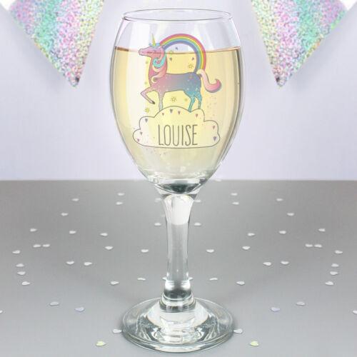 Personnalisé magique licorne verre vin ajouter filles nom anniversaire cadeau de noël