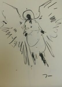 JOSE TRUJILLO Original Charcoal on Paper Sketch Drawing 18X24 Angel Angelic Art