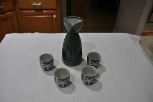 """Ebros Japanese 12oz Ceramic Green Wetlands Reed Rice Wine Sake Set Flask 6.25/""""H"""