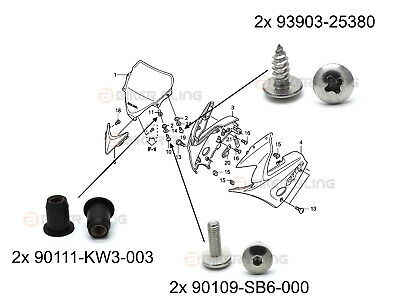 Honda CBR125R 2004-2006 nose cone fairing bolts rubber well nuts tapping screws