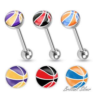 PIERCING-ALLA-LINGUA-bilanciere-con-Manubri-Staffa-PER-da-basket-logo-motivo