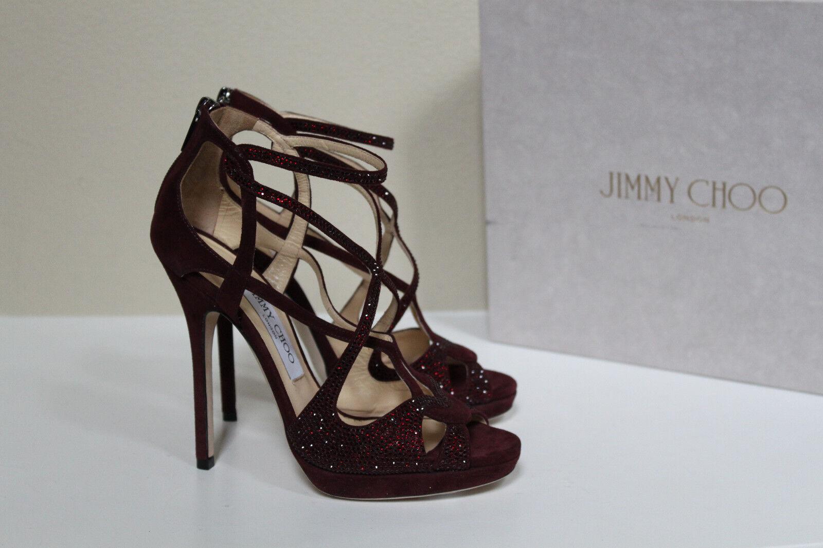 New sz 9.5 / 39.5 Jimmy Choo Vault Crystal Burgundy Suede Cage Sandal Pump Shoes