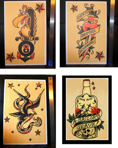 4 USA Death Before Dishoner vintage Sailor Jerry Traditional Tattoo poster print