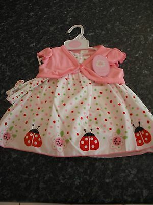 Strong-Willed Baby Girls Cotton Dress Set With Bolero - Pink - 4 Piece -18-23 Months - Bnwt