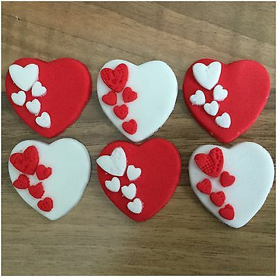 6 Valentines Day Hearts Red White Edible Sugar Cupcake Toppers Cake Decorations