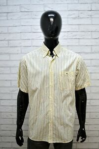 Camicia-Uomo-LACOSTE-Taglia-43-Camicetta-a-Righe-Manica-Corta-Maglia-Shirt-Man