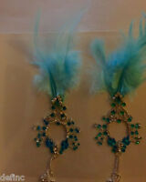 Mardi Gras Cute Nipple Crystals Faux Feather 2015 Holiday Self Adhesive Stick On