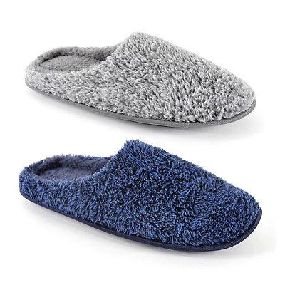 Mens Coral Fleece Two Tone Plush Mule Slippers  Super Soft Warm Shoe Size 7-12