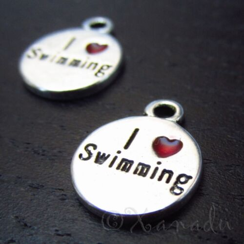 10 or 20PCs I Love Swimming 14mm Antiqued Silver Plated Enamel Charms C9545-5