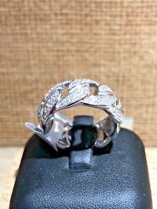 925-Sterling-Silver-Cuban-Ring-Cuban-Chain-Ring-design-Decorated-With-CZ